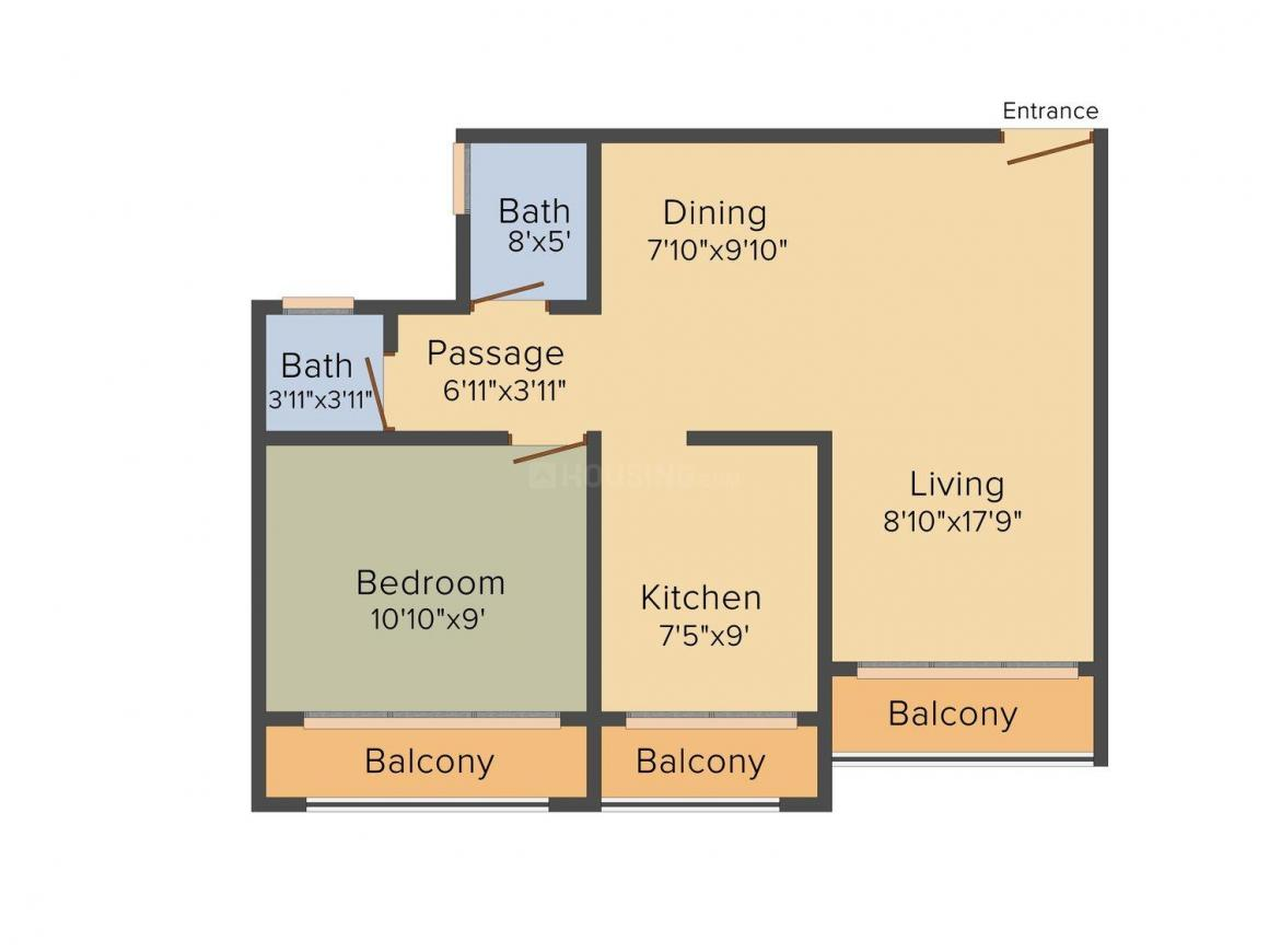 Baba Vihar Floor Plan: 1 BHK Unit with Built up area of 552 sq.ft 1