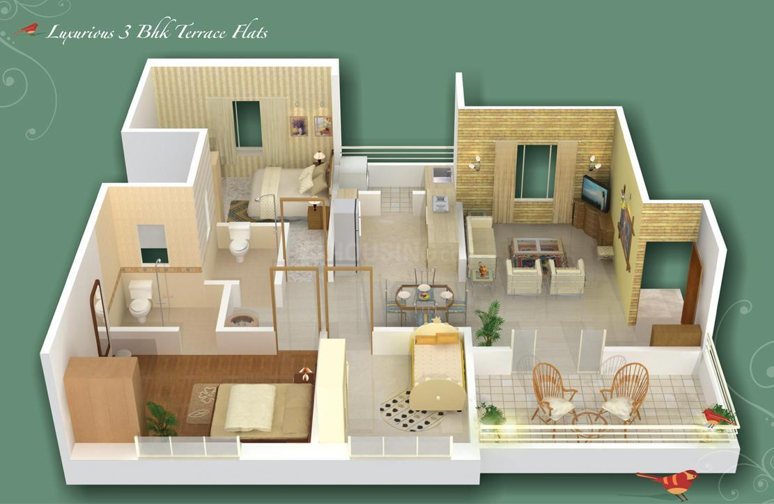 GK Rose County Floor Plan: 3 BHK Unit with Built up area of 1290 sq.ft 1