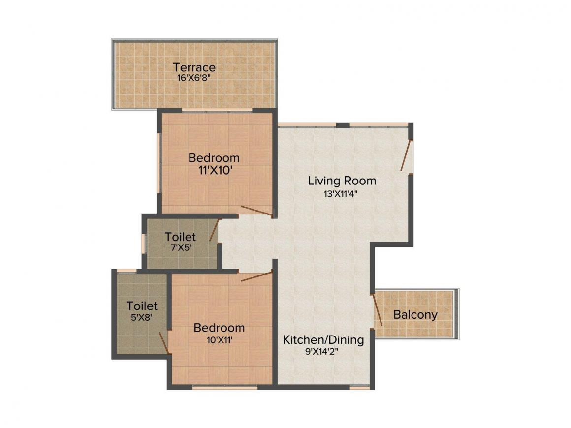 Austin Belvedere Floor Plan: 2 BHK Unit with Built up area of 992 sq.ft 1