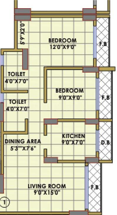Shree Shakun Greens Floor Plan: 2 BHK Unit with Built up area of 935 sq.ft 1