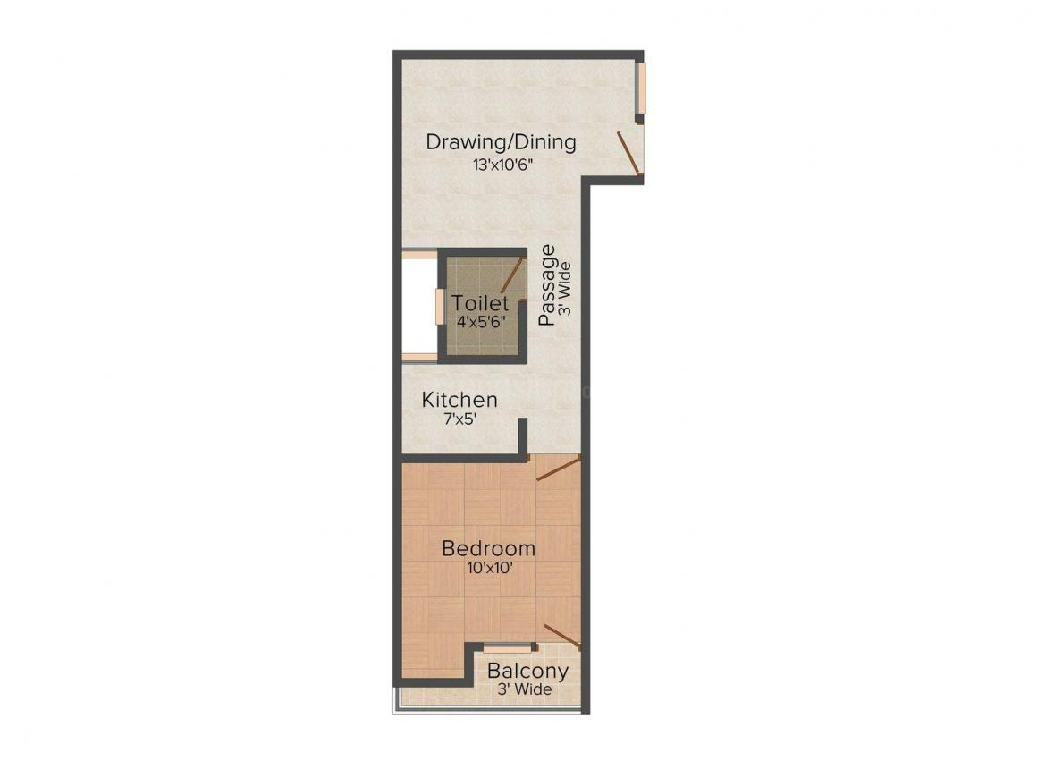 Solace Apt - 1 Floor Plan: 1 BHK Unit with Built up area of 500 sq.ft 1