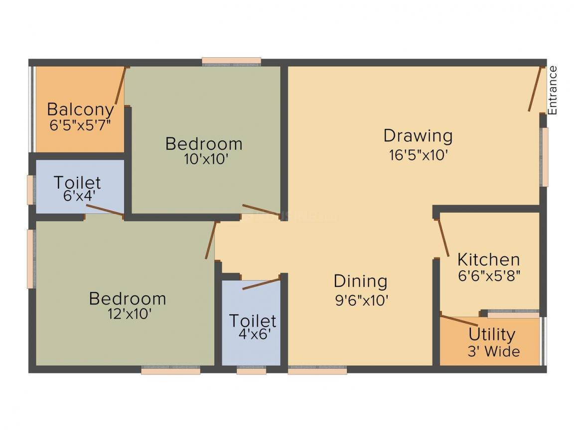 SS Navya Tulip Floor Plan: 2 BHK Unit with Built up area of 936 sq.ft 1