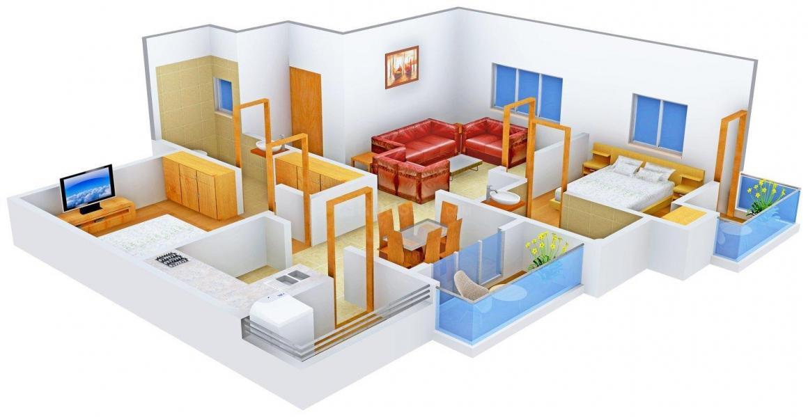 Floor Plan Image of 1057.0 - 1105.0 Sq.ft 2 BHK Apartment for buy in Tree Tamarind Tree