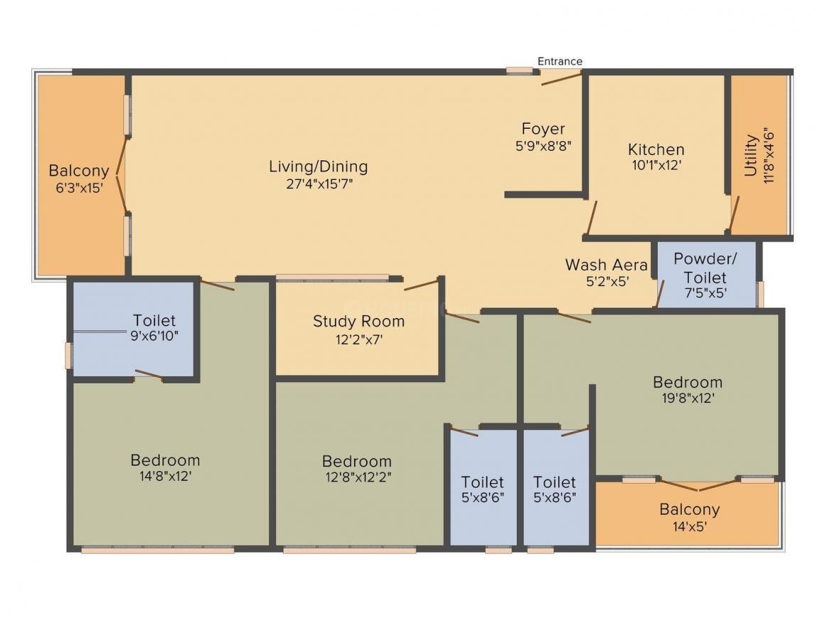 Bhoomi Maple Crest Floor Plan: 3 BHK Unit with Built up area of 2448 sq.ft 1