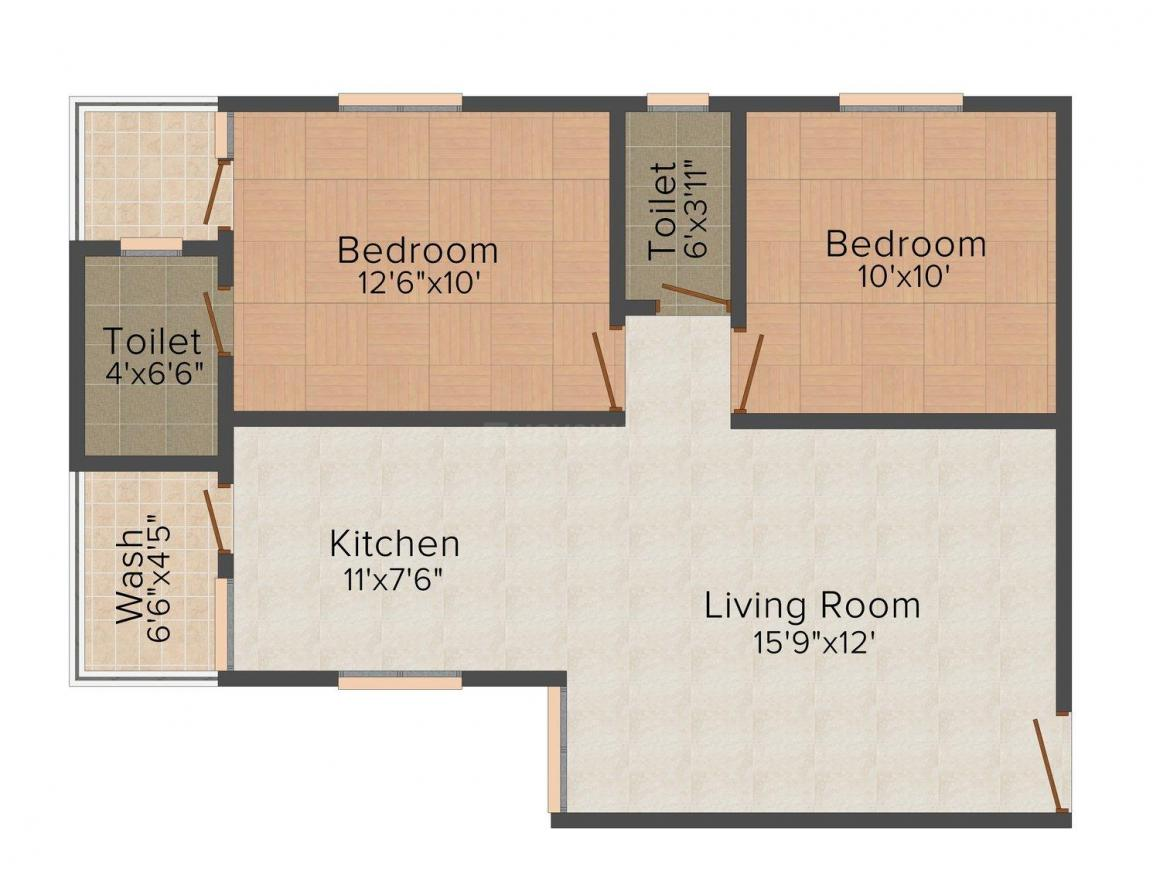 Kalapi Shyam Residency Floor Plan: 2 BHK Unit with Built up area of 1017 sq.ft 1