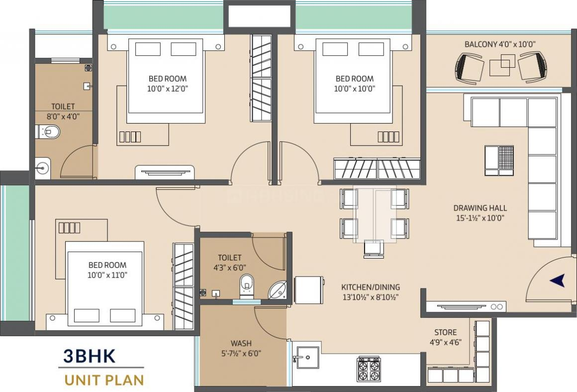 Harsh Prime Floor Plan: 3 BHK Unit with Built up area of 1485 sq.ft 1