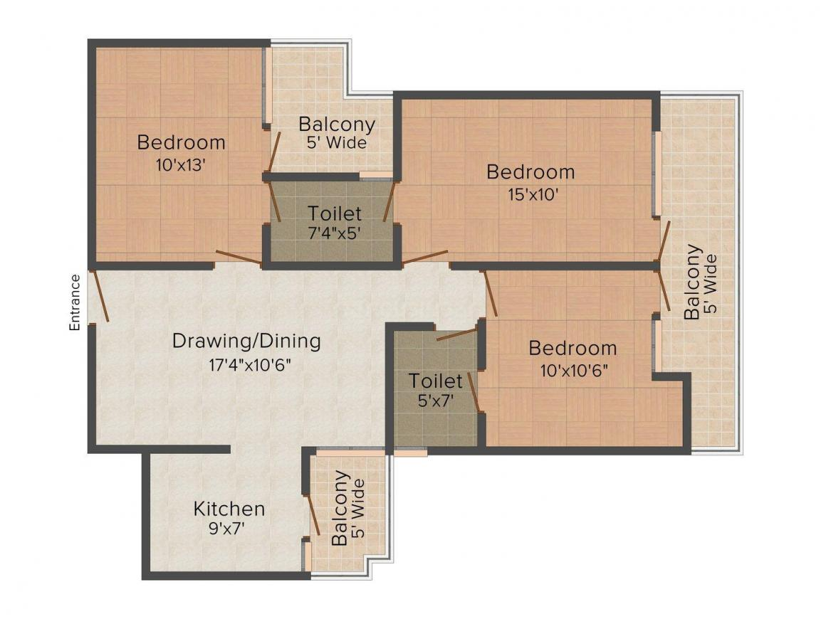 Love India Builders Site - 1 Floor Plan: 3 BHK Unit with Built up area of 1489 sq.ft 1