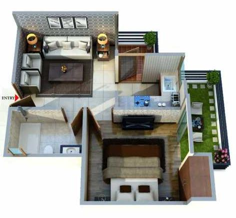 Gayatri Life Floor Plan: 1 BHK Unit with Built up area of 625 sq.ft 1