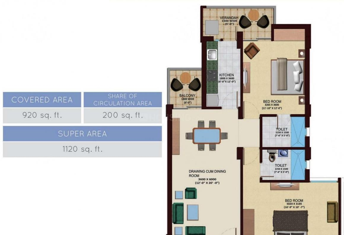 Design Arcade Floor Plan: 2 BHK Unit with Built up area of 1120 sq.ft 1