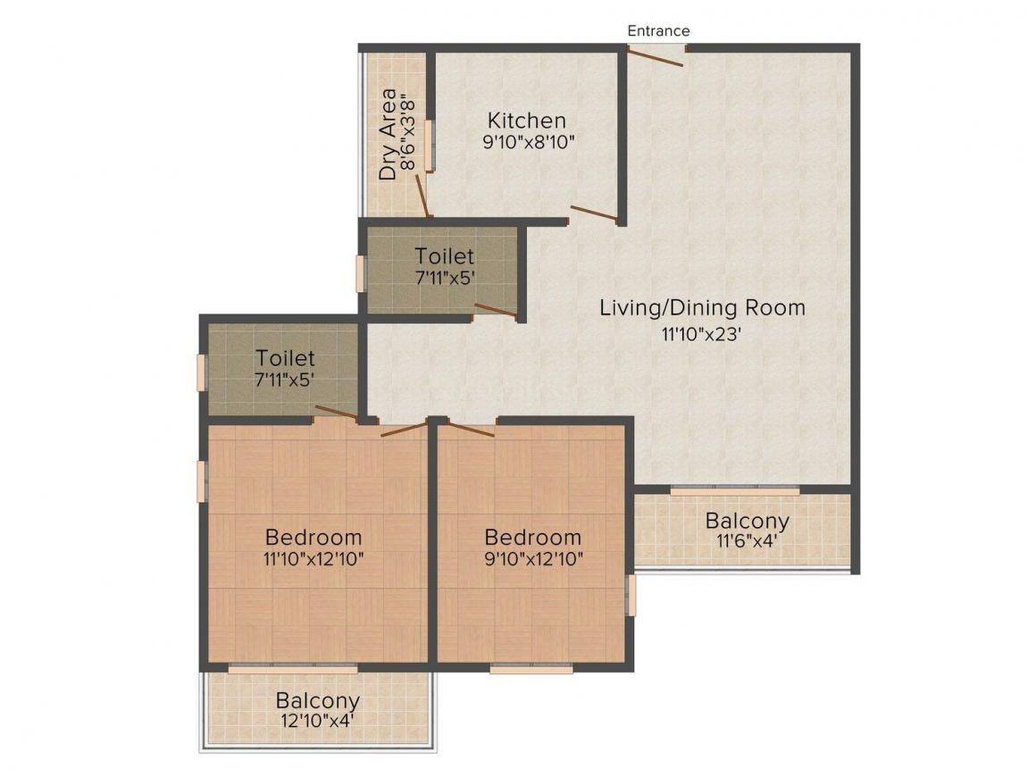 Floor Plan Image of 1260 - 1885 Sq.ft 2 BHK Apartment for buy in Olive Celestina
