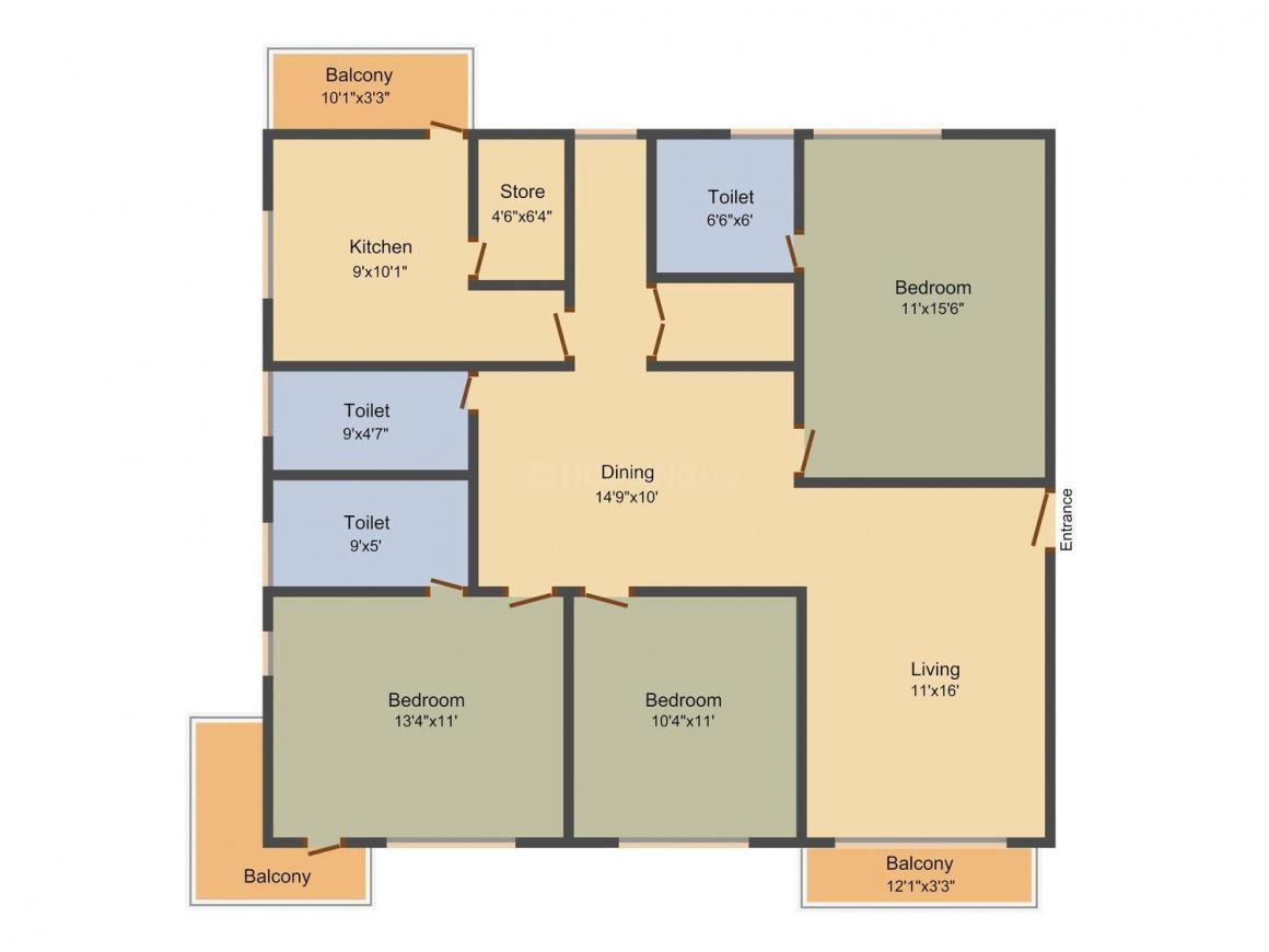 Shrisha La Aurora Floor Plan: 3 BHK Unit with Built up area of 1600 sq.ft 1