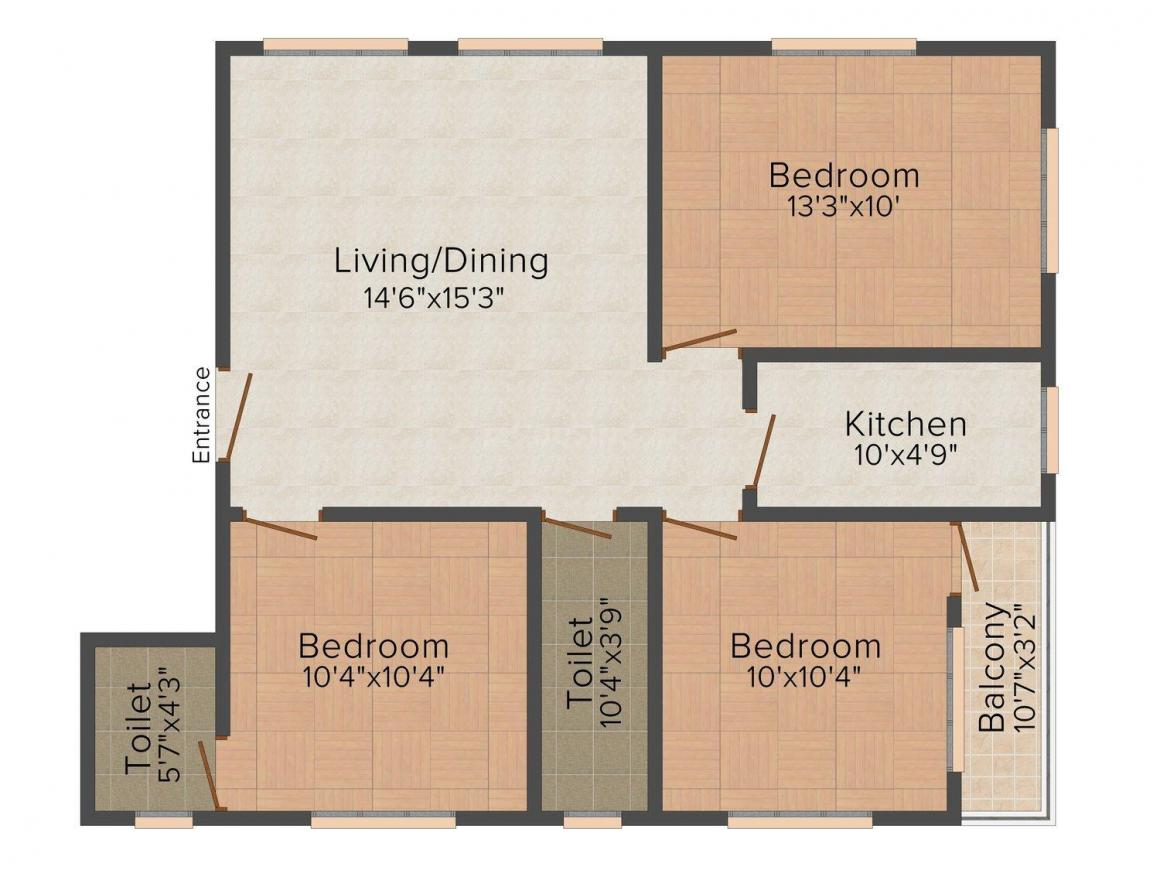Floor Plan Image of 0 - 1233.0 Sq.ft 3 BHK Apartment for buy in Biswas Jeet Sunshine Ph IV