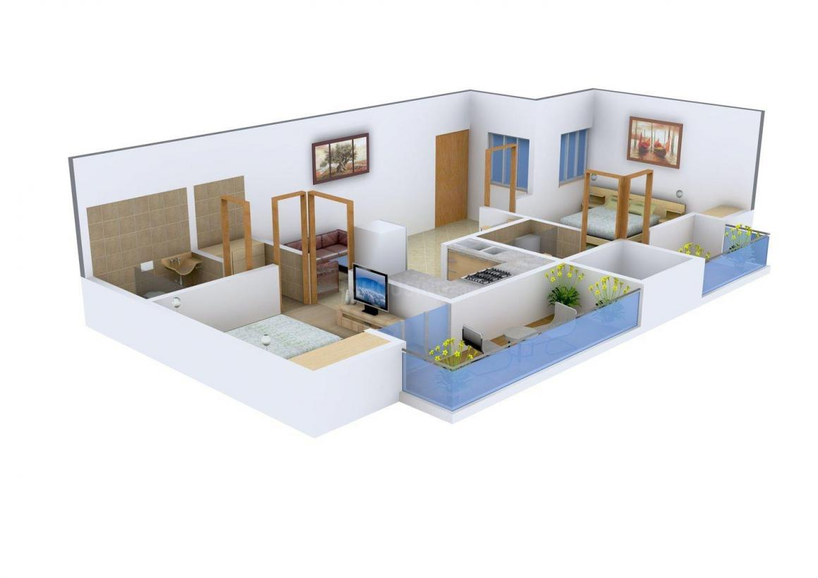 Floor Plan Image of 1100 - 2350 Sq.ft 2 BHK Apartment for buy in Ganpati Kings County