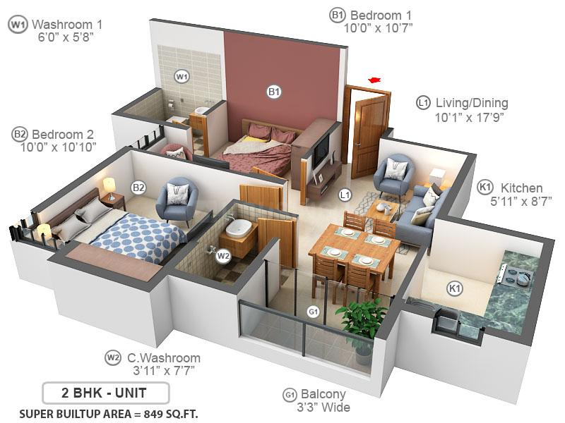 RISHI Ventoso Floor Plan: 2 BHK Unit with Built up area of 849 sq.ft 1