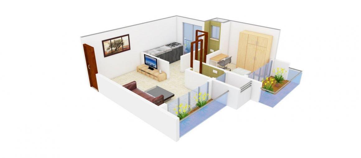 Floor Plan Image of 630 - 701 Sq.ft 1 RK Apartment for buy in Namdev Seth Residency