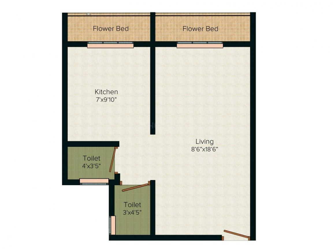 Floor Plan Image of 320 - 520 Sq.ft 1 RK Apartment for buy in MJM Ridhi Sidhi Apartment