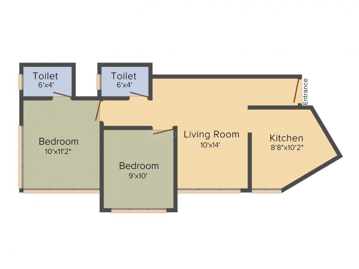 Floor Plan Image of 0 - 1080 Sq.ft 2 BHK Apartment for buy in VV Amazon Fortune