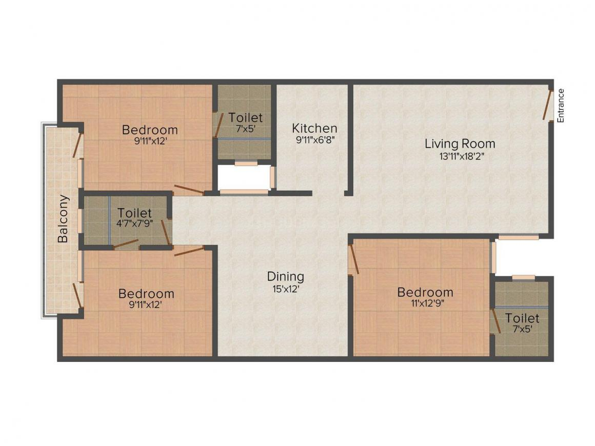 Floor Plan Image of 0 - 1200.0 Sq.ft 3 BHK Independent Floor for buy in Aarna Homes - 3