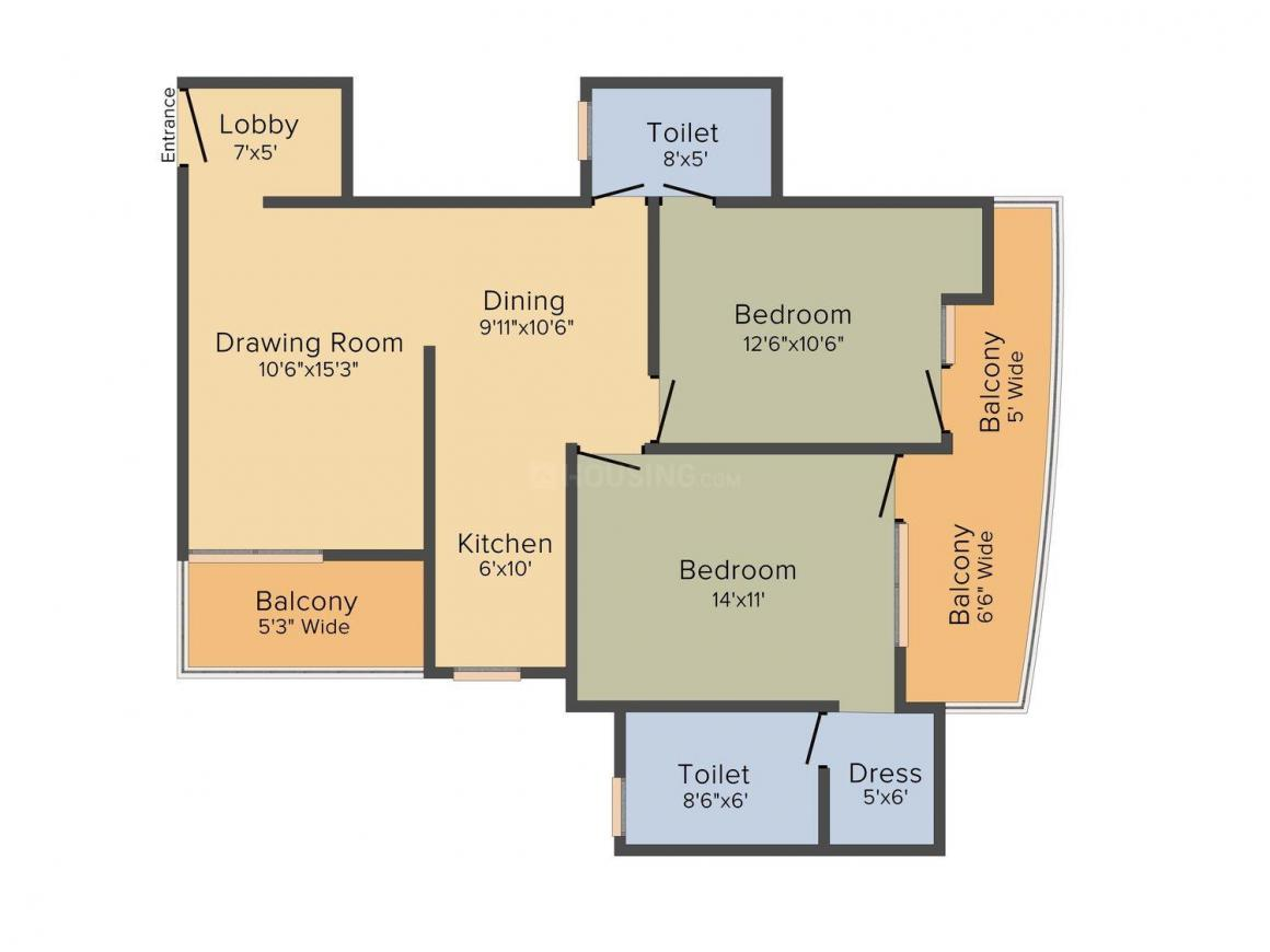 Floor Plan Image of 1041 - 2618 Sq.ft 2 BHK Apartment for buy in Star AMD The Essentia Sportz (Wembley and Lords)