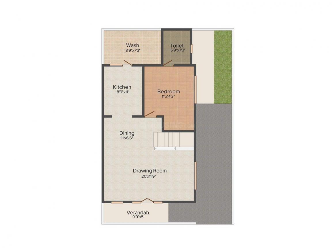 Shrinivas Pride Floor Plan: 3 BHK Unit with Built up area of 2052 sq.ft 1