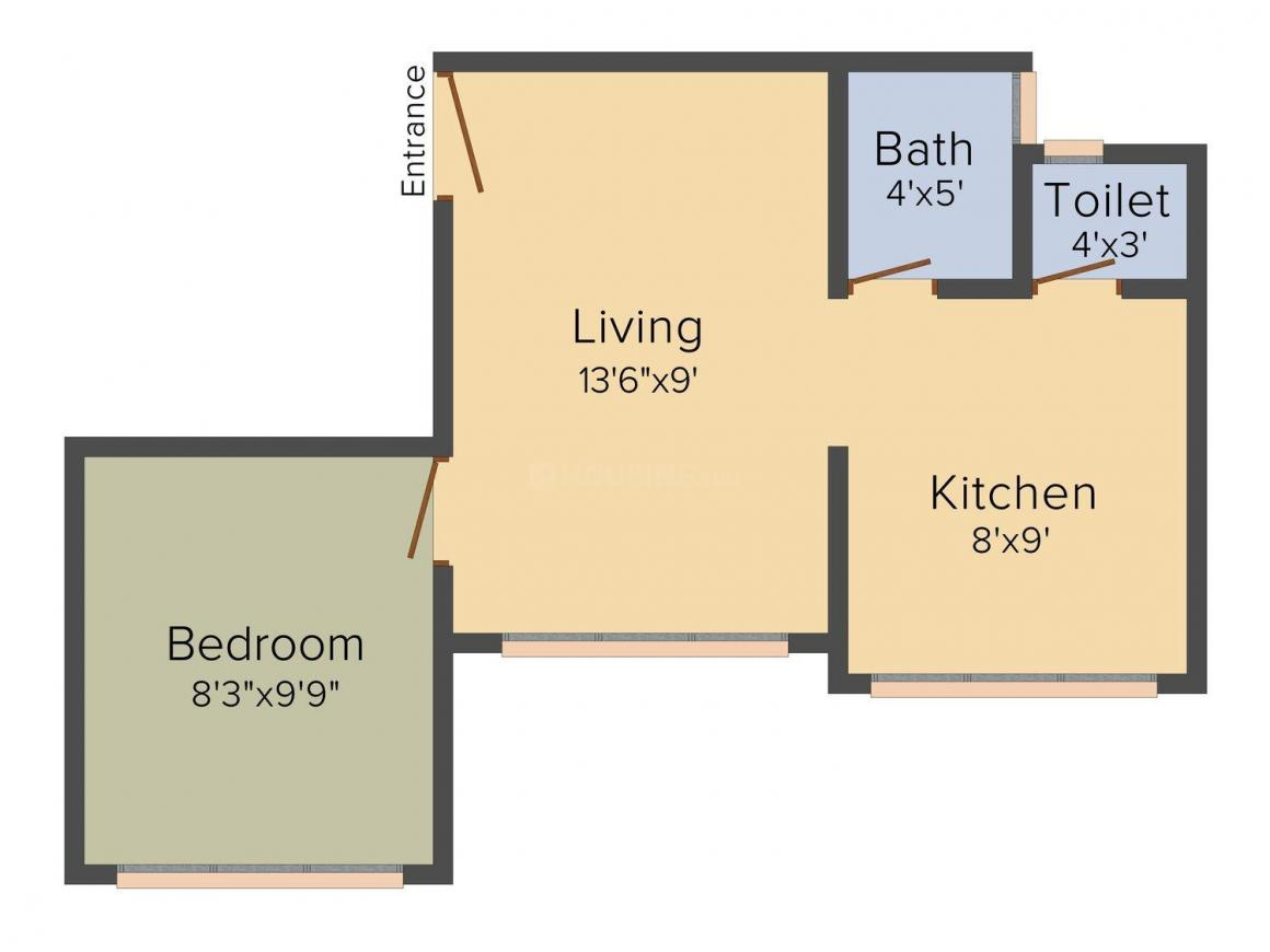 Floor Plan Image of 550 - 650 Sq.ft 1 BHK Apartment for buy in Krisha Vishakha