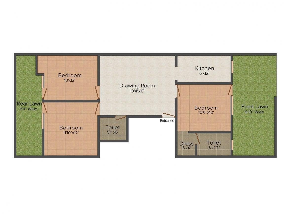 Floor Plan Image of 0 - 1179.0 Sq.ft 3 BHK Independent Floor for buy in Sagar Floors 2366 Sainik Colony