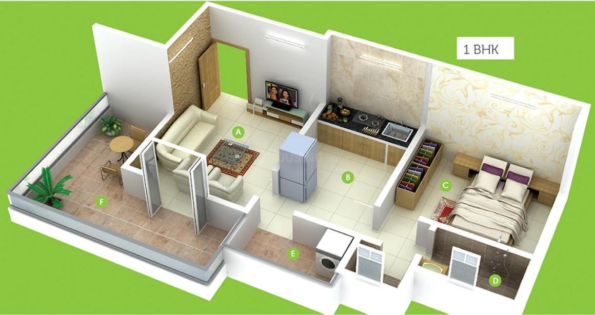 Shiv Hazel View Floor Plan: 1 BHK Unit with Built up area of 539 sq.ft 1
