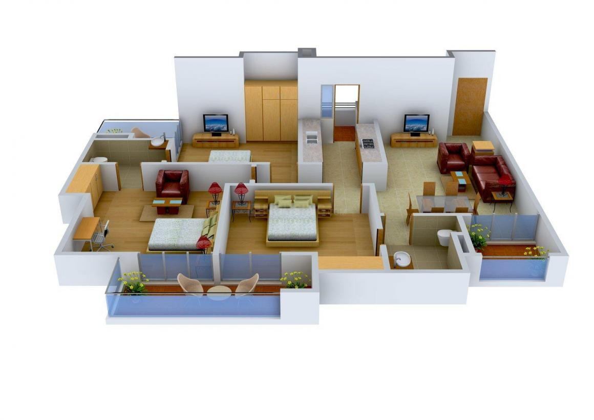 3D Buildcon C-115, Rosewood Floor Plan: 3 BHK Unit with Built up area of 1700 sq.ft 1