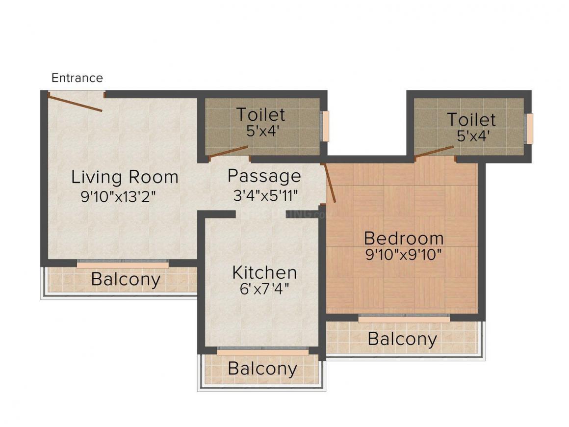 Floor Plan Image of 580.0 - 775.0 Sq.ft 1 BHK Apartment for buy in V.V.Realty The Presidency