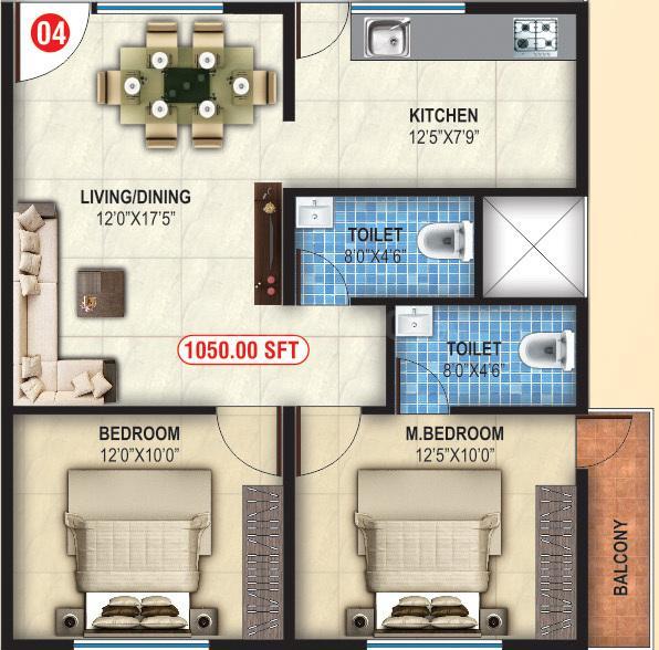 Land Mark Sannidhi Enclave Floor Plan: 2 BHK Unit with Built up area of 1050 sq.ft 1