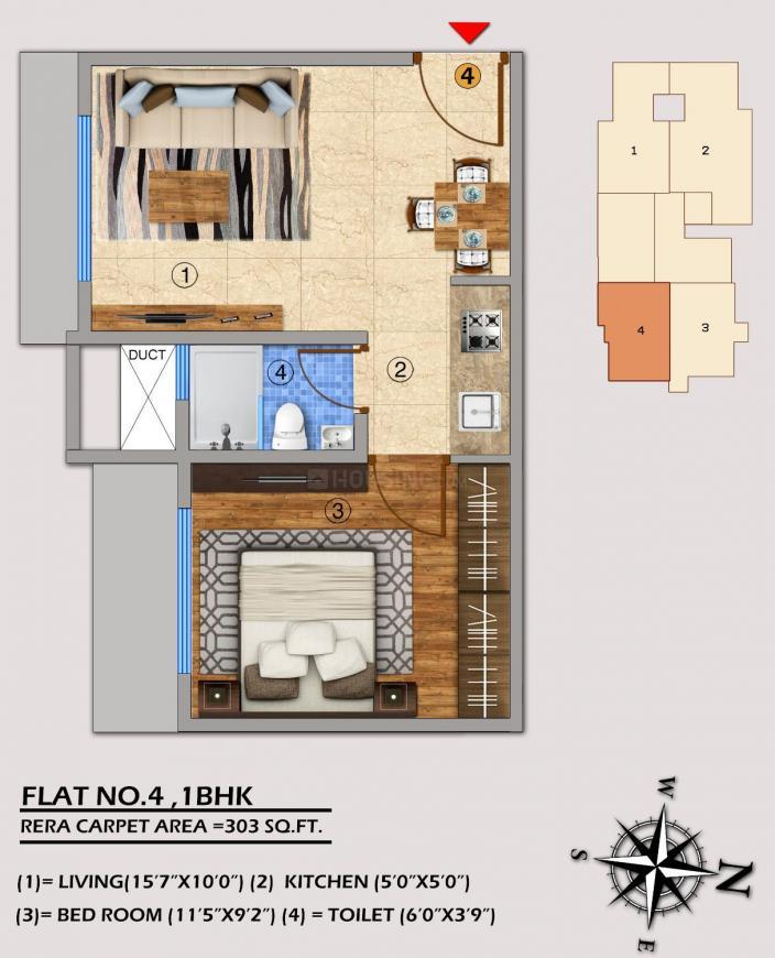 Sanghvi Palash Floor Plan: 1 BHK Unit with Built up area of 303 sq.ft 1