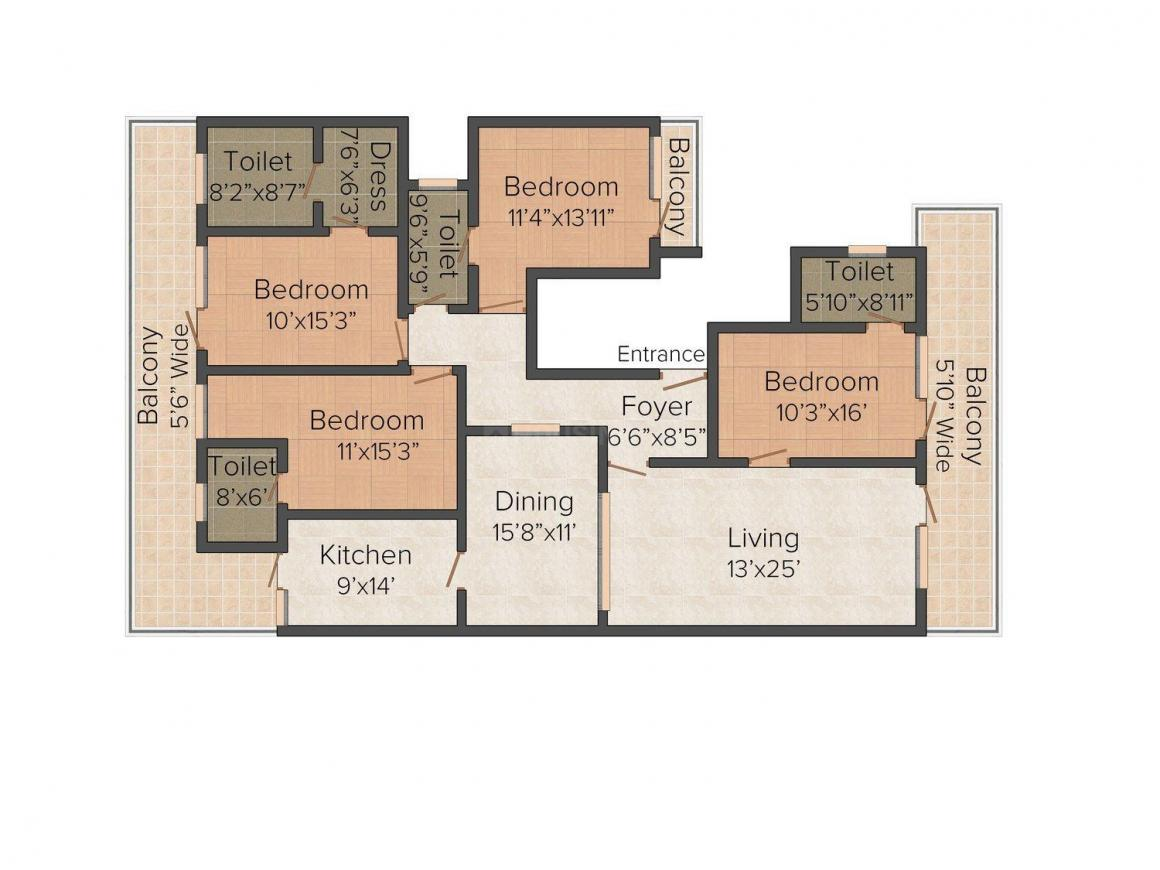 Floor Plan Image of 0 - 2700.0 Sq.ft 4 BHK Independent Floor for buy in Ambika  A-174B