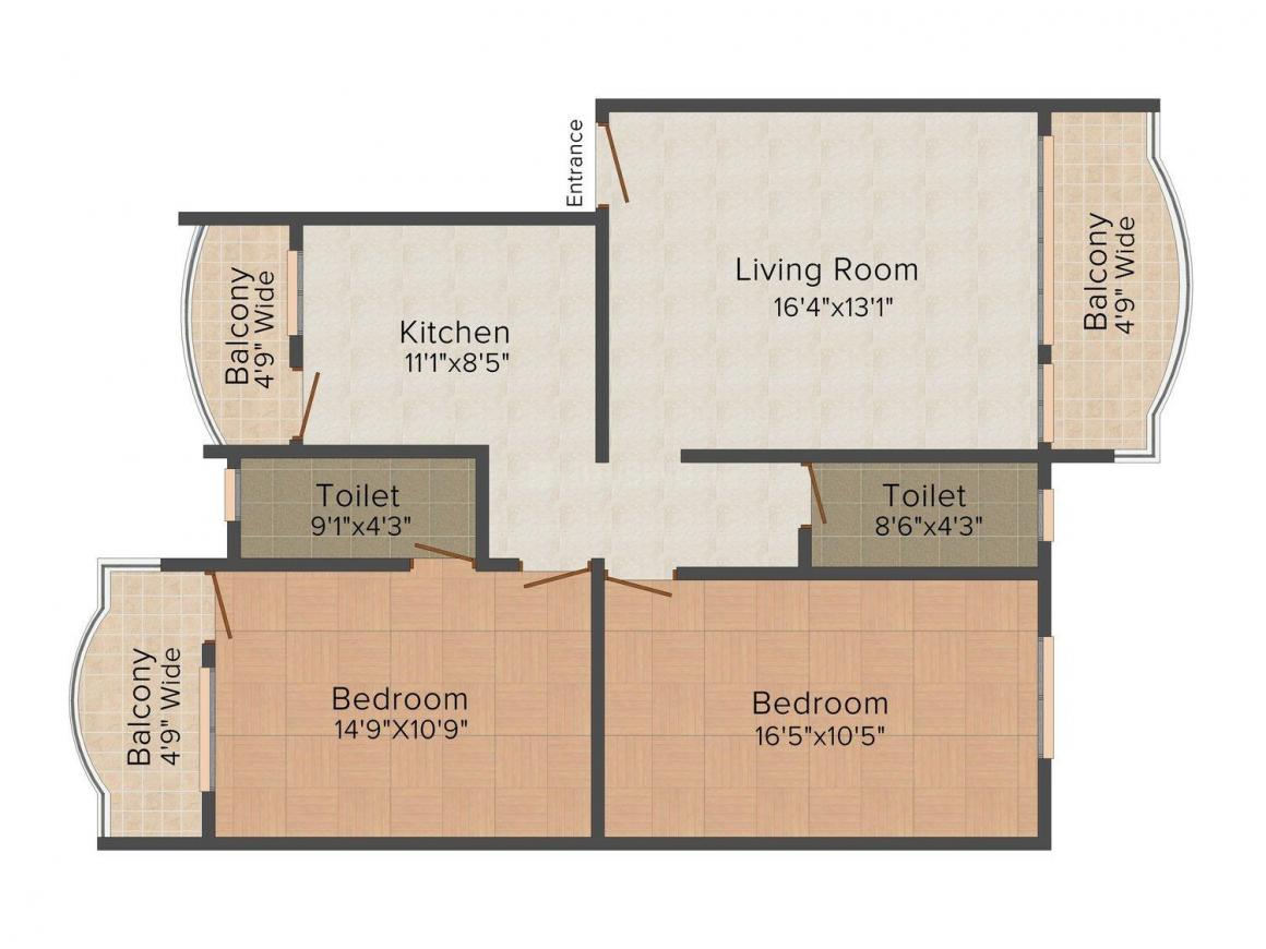 Floor Plan Image of 0 - 1130.0 Sq.ft 2 BHK Apartment for buy in Micon Arabian Sea View