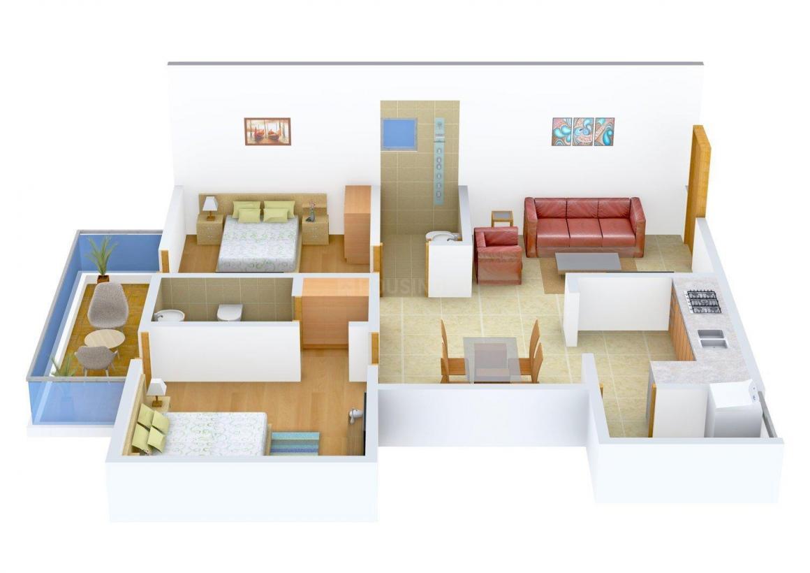 Elegant Corona Floor Plan: 2 BHK Unit with Built up area of 1350 sq.ft 1