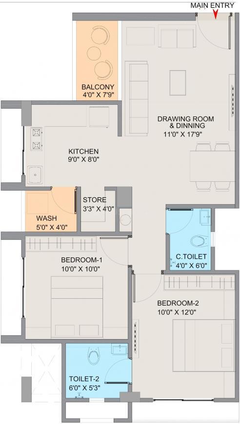Dwarkadhish Dhananjay Elegance Floor Plan: 2 BHK Unit with Built up area of 616 sq.ft 1