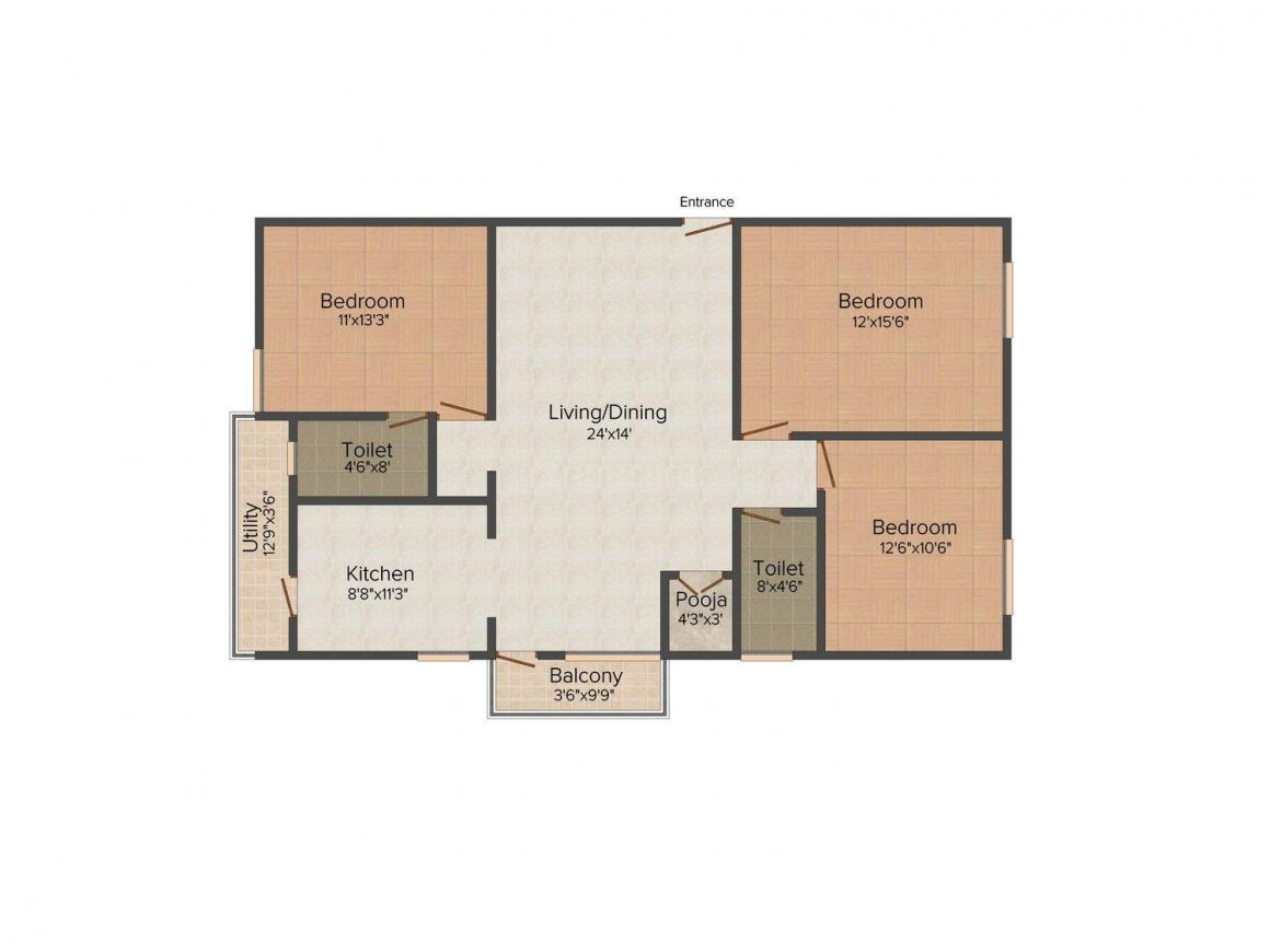 SLV Residency Floor Plan: 3 BHK Unit with Built up area of 1500 sq.ft 1