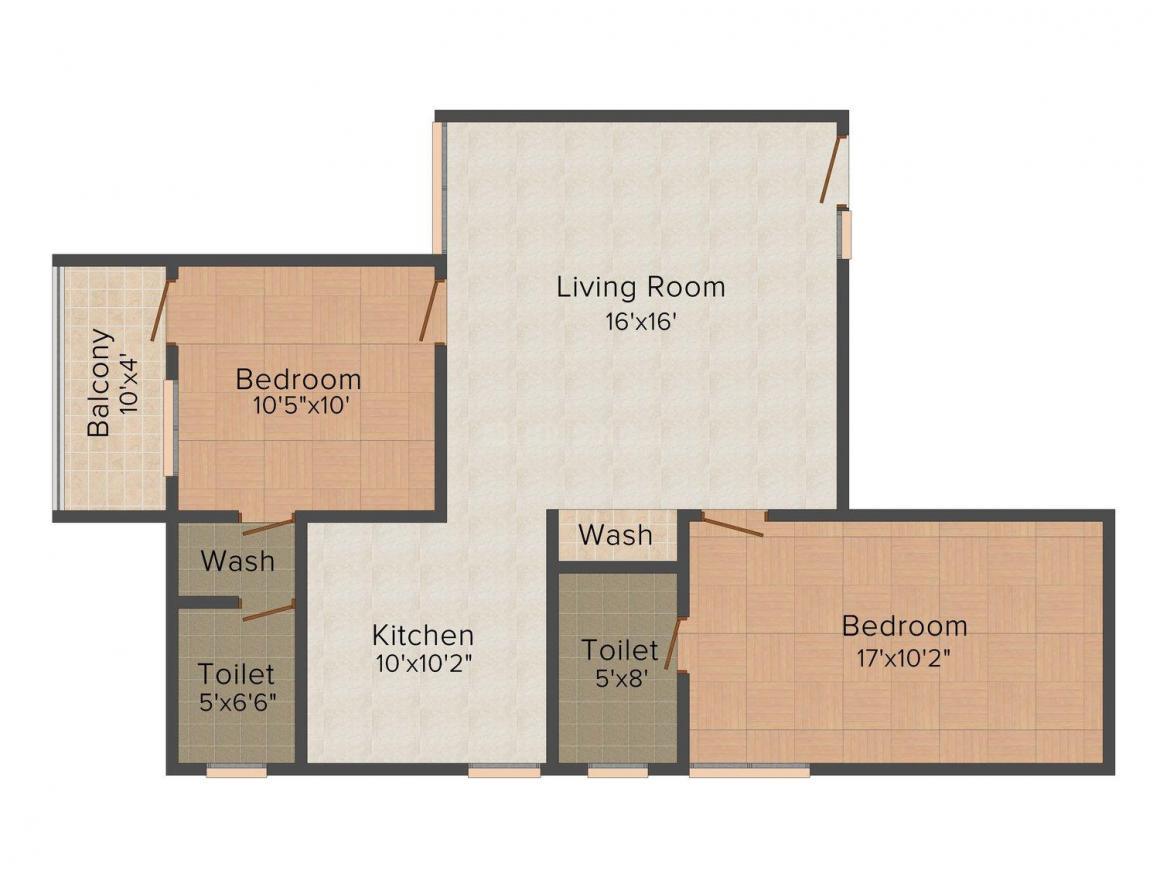 Floor Plan Image of 1015.0 - 1660.0 Sq.ft 2 BHK Apartment for buy in Walgreens Residency