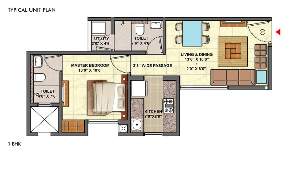 The Lodha Palava Township Floor Plan: 1 BHK Unit with Built up area of 443 sq.ft 1