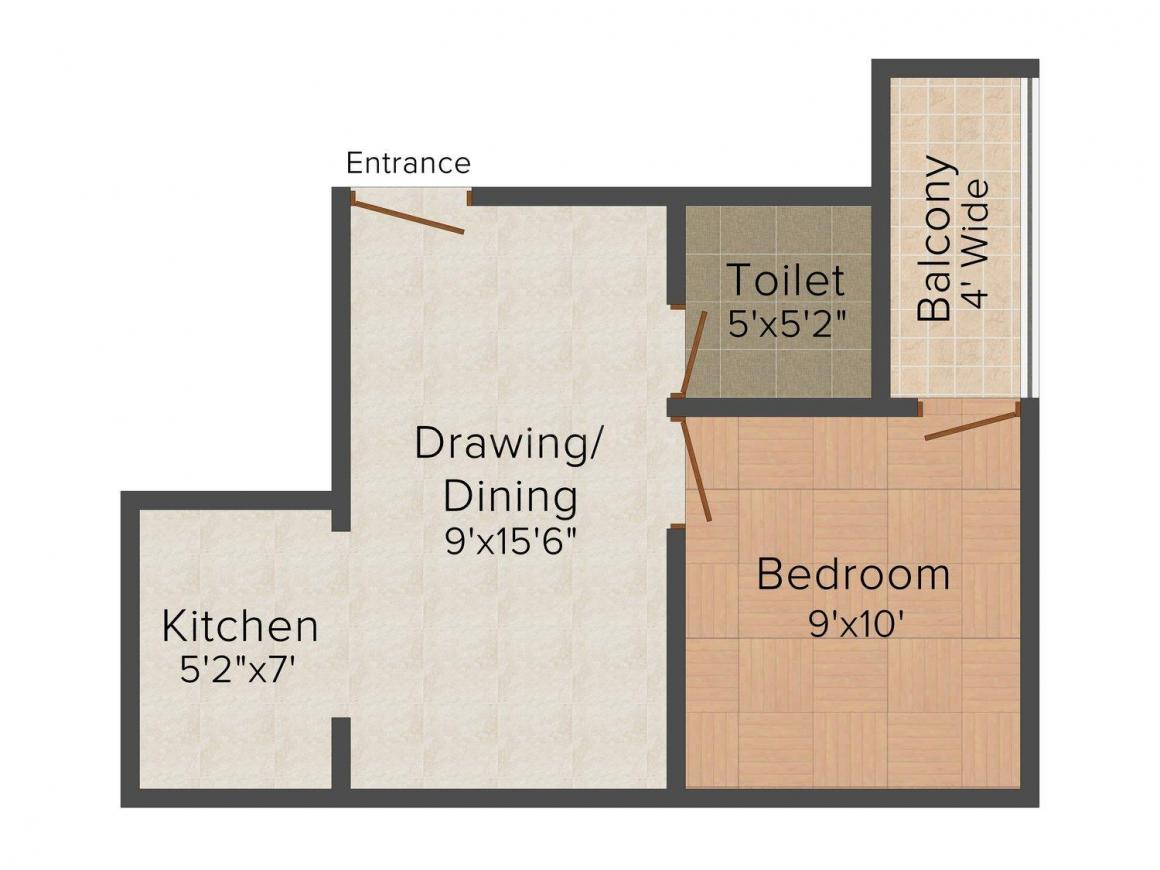 Real Bhumi Vrinda Apartment Floor Plan: 1 BHK Unit with Built up area of 400 sq.ft 1