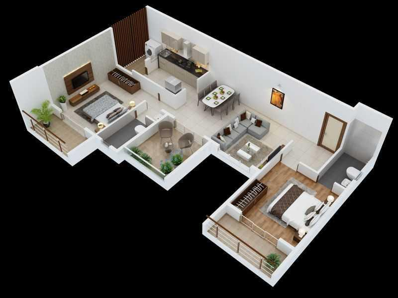 Hublikar Amber Society Floor Plan: 2 BHK Unit with Built up area of 873 sq.ft 1