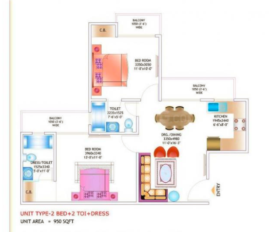 JM Orchid Floor Plan: 2 BHK Unit with Built up area of 950 sq.ft 1
