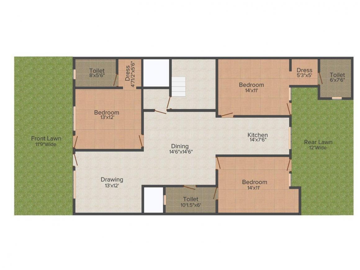 Floor Plan Image of 0 - 2070.0 Sq.ft 3 BHK Independent Floor for buy in Kailash Builder Floor 1