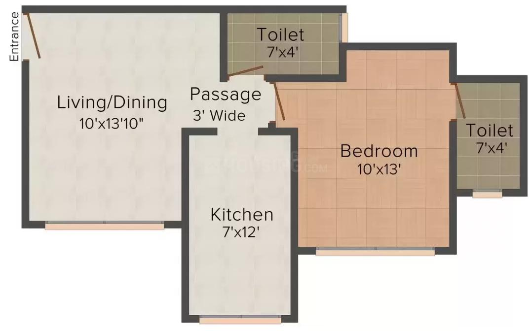 Srishti Group Solitaire Floor Plan: 1 BHK Unit with Built up area of 444 sq.ft 1