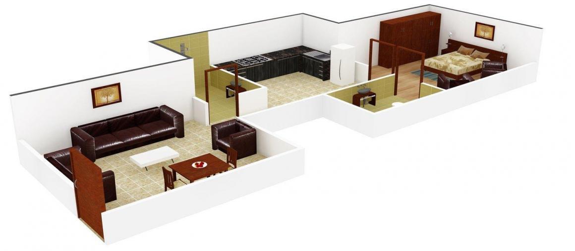 Annapurna Gujrat Annapurna Jewel Floor Plan: 1 BHK Unit with Built up area of 505 sq.ft 2