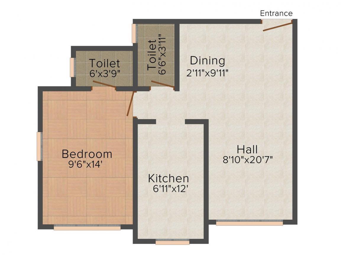 Floor Plan Image of 415 - 798 Sq.ft 1 BHK Apartment for buy in Kamla Neminath