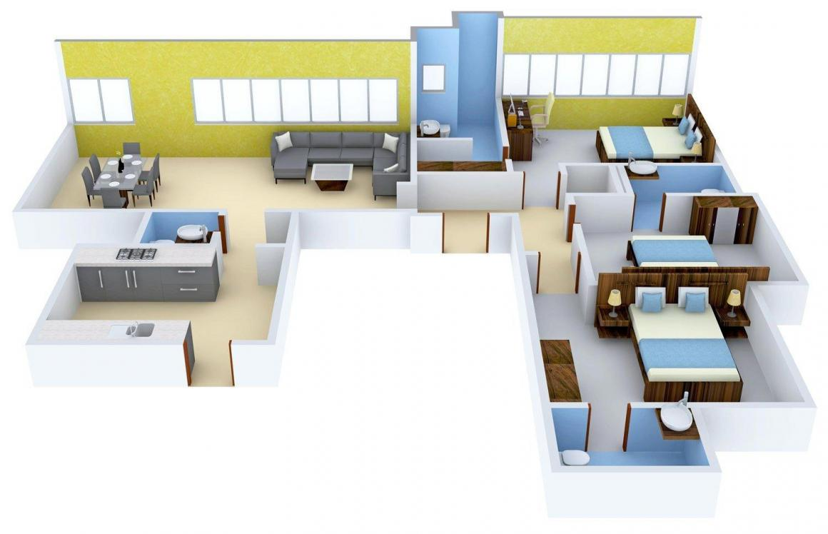 Floor Plan Image of 0 - 2905.0 Sq.ft 3 BHK Apartment for buy in Lifescapes Aquino
