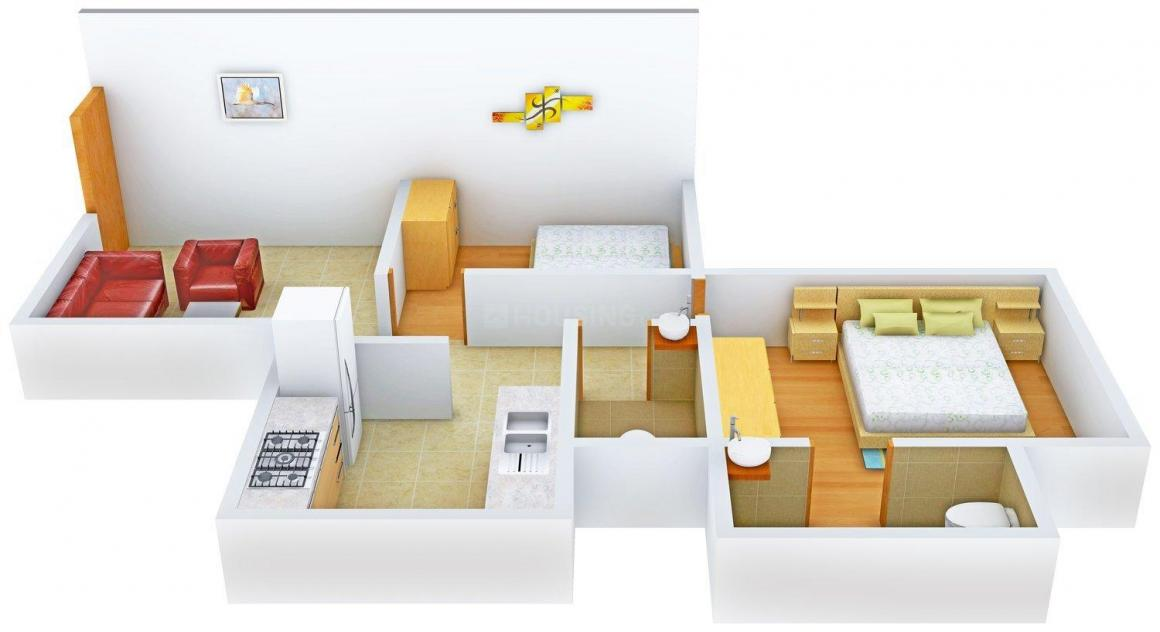 Floor Plan Image of 541 - 543 Sq.ft 2 BHK Apartment for buy in Lotus Heights