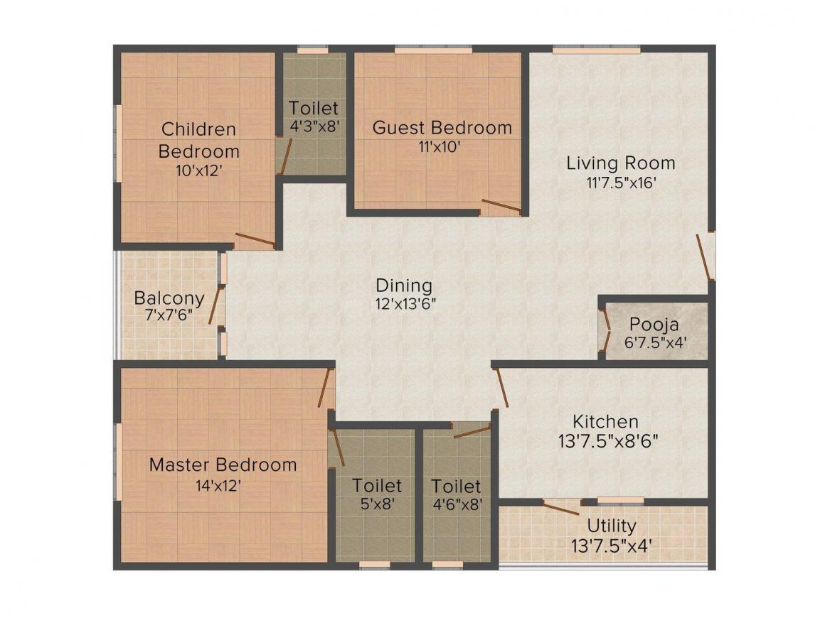 Floor Plan Image of 0 - 1670.0 Sq.ft 3 BHK Apartment for buy in VSM Seven Hills Residency