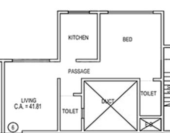 Lodha Global Park Floor Plan: 1 BHK Unit with Built up area of 445 sq.ft 1