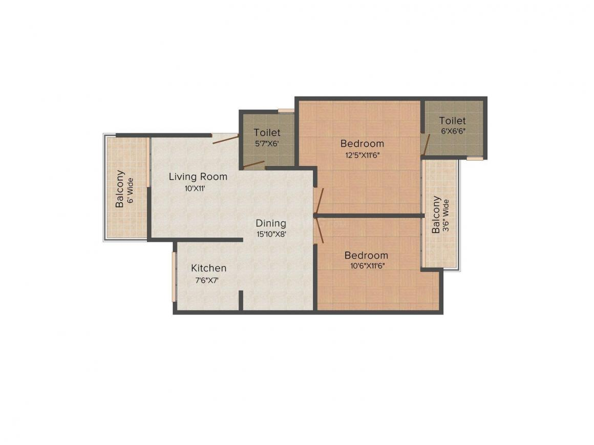 Oxford Square Floor Plan: 2 BHK Unit with Built up area of 1067 sq.ft 1
